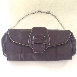 Daisy Fuentes burgandy clutch evening bag